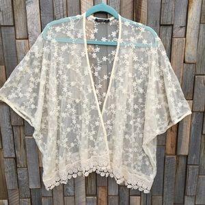 Woman's top shirt blouse lace open cardigan medium